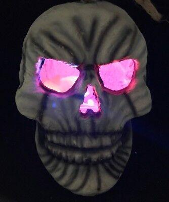 VTG Halloween hanging Skull Flaming Light LED Prop Party Décor