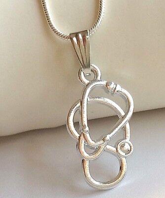Silver Stethoscope Necklace Medical Nursing Doctor Graduation Gift 18