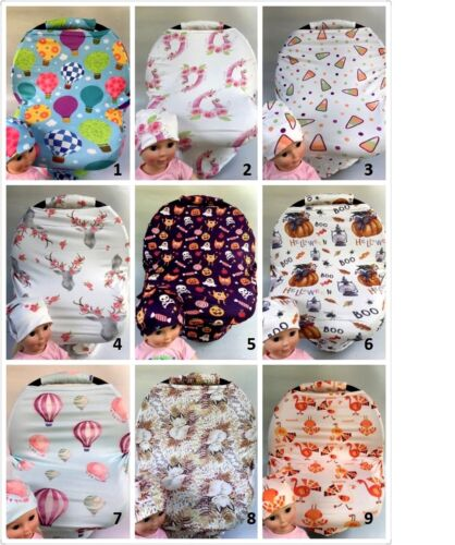 Premium Multi-Use infant CarSeat Canopy Nursing cover baby Beanie Carrying Case: