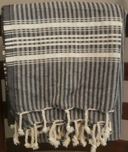 Linum Home Textiles Black Stripe Turkish Pestemal Towel ~ 40