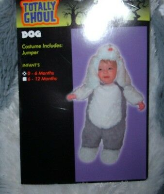 NEW Dog Puppy Costume White Gray Infant Toddler Sz 0-6 mo - NWT - FREE SHIPPING - Dog Costume Toddler