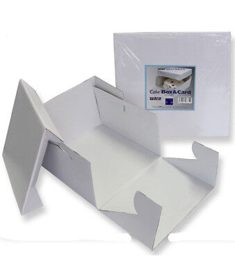 PME White 12'' Square Folding Cardboard Cake Baking Box Container Lift Off - Cardboard Cake Boxes