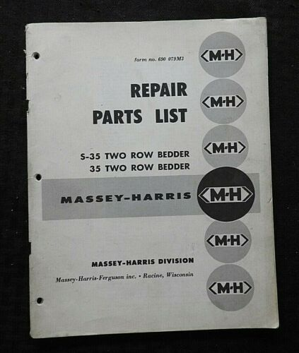 1956 MASSEY HARRIS S-35 & 35 TWO ROW BEDDER SEEDER PARTS CATALOG MANUAL NICE