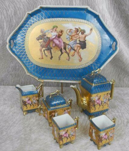 "Antique 6 PCS Demi Tea Set W/ Mythological Painting ""Corith"""