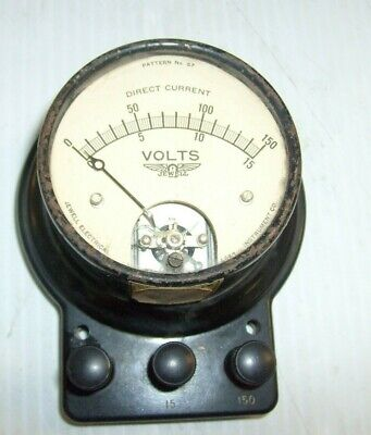 Vintage Jewell Dc Volts Tester Meter Pattern No. 57 Self Enclosed Voltage Meter