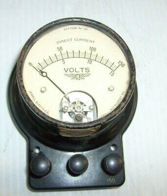 Vintage Jewell Dc Volts Tester Meter Pattern No. 57 Self Enclosed Voltage Meter