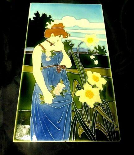 RARE Carl Luber Johann Von Schwarz Art Nouveau Lady & Jonquils Tile