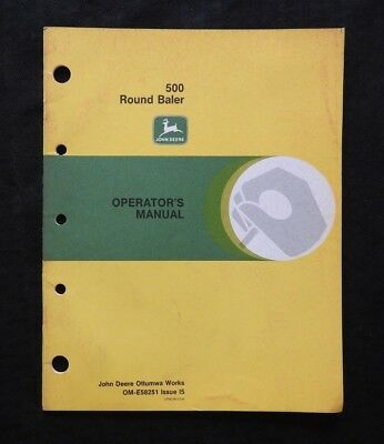Genuine 1975 John Deere No. 500 Round Balers Operators Manual Very Good Shape