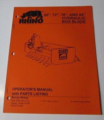 Rhino Servis Hydraulic Box Blade 66 72 78 84 Operators Manual