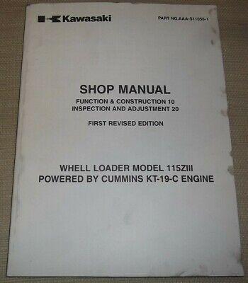 Kawasaki 115ziii Wheel Loader Shop Service Manual Powered By Kt-19-c Engine