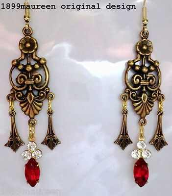 Art Nouveau Art Deco earrings 1920s Edwardian vintage style red crystal drop