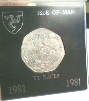 AN  JOEY DUNLOP 1981 ISLE OF MAN TT 50p COIN - AA DIE-CASED IN MOUNT - IoM MANX