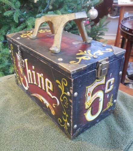 Vintage Shoe Shine Box Wood & Metal 5 Cent SHINE Circus Theme w/ Contents