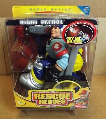 RESCUE HEROES AIDAN ASSIST NIGHT PATROL NEW ON CARD 2001 FISHER PRICE