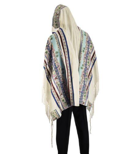 """100% Wool Tallit Prayer Shawl Model Seven Species Size 40"""" L X 71"""" W"""