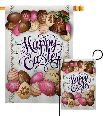 Colorful Flag Banner (Sweet Chocolate Easter Eggs Colorful Ornament Joy Garden House Yard Flag)