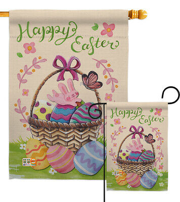 Colorful Flag Banner (Happy Easter Colourful Basket Eggs-Spring Garden Yard Banner House)