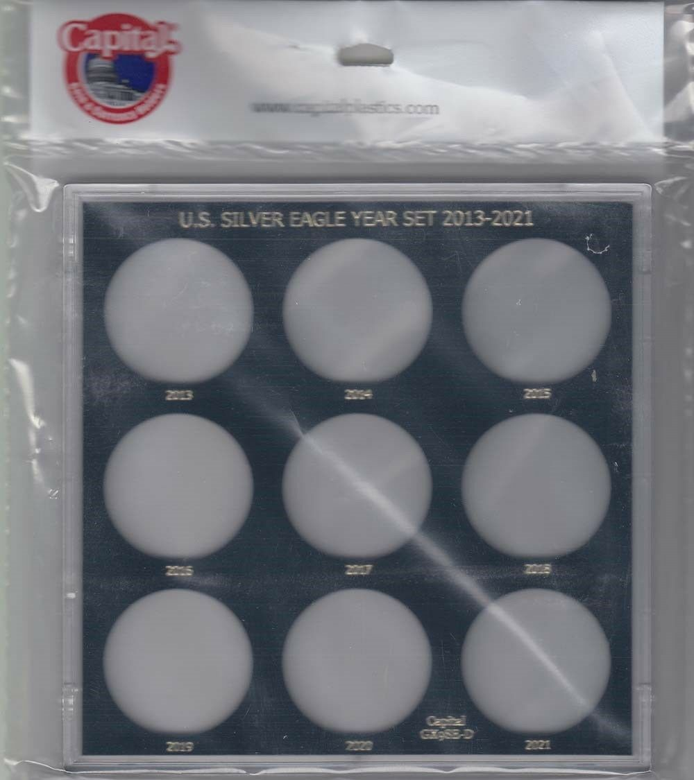 Coin Display Storage Case For US Silver Eagle Year Set 2013 2021 Capital Holder