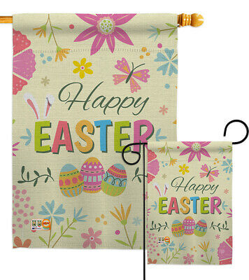 Colorful Flag Banner (Happy Easter Colourful Flowers-Spring Garden Yard Banner House)