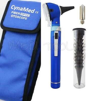 New Blue Fiber Optic Otoscope Examination Led Diagnostic Ent Kit1 Free Bulb