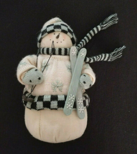 """Cute Skier Snowman Door Stopper and Display - 9-1/2"""" Tall - Excellent!"""