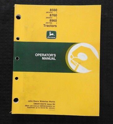 Genuine John Deere 8560 8760 8960 Tractor Operators Manual 200 Pages Very Good