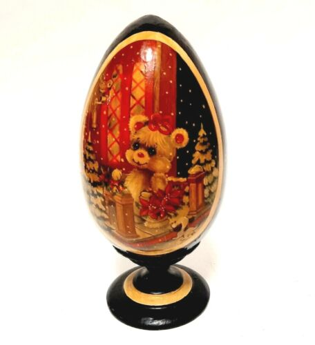 Vintage Hand Painted Decorative Wooden Egg. Christmas Egg. Bear Christmas tree
