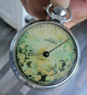 Boy Scout Jamboree Smiths Automaton Pocket Watch - Working + Moving Arm
