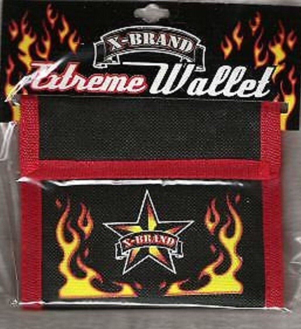 WALLET BLACK AND RED BI FOLD FLAME AND STAR X BRAND BOYS/MEN