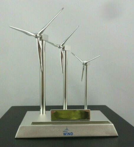 Desk Top Wind Turbine Wind Windmill Blades Move Metal Business Card Holder Toy