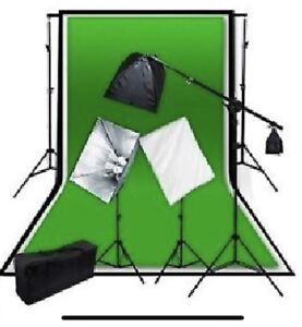 Studio Photography Kit 4 Head Softbox 3 Backdrop Stand Set 2mx3m