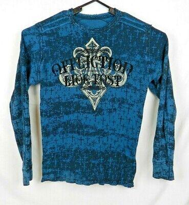 Affliction Reversible Henley T-Shirt Distressed Blue Long Sleeve Men's XL