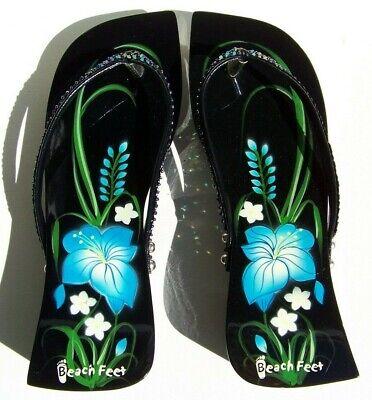 Beach Feet Lacquered Wood Flip Flops Thong Sandals Black Blue Flowers Wedge Heel Sequin Flower Flip Flops