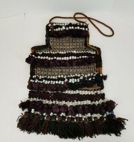 Vintag Middle Eastern Turkish Persian Arabian Woven Wool Bag Glass Beads 14x15
