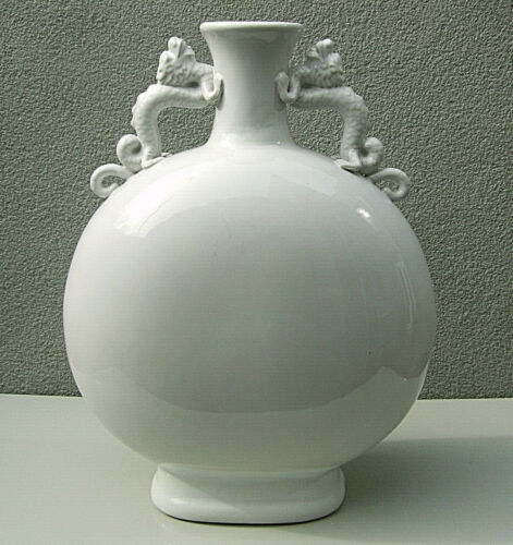 Chinese large white glazed moon flask with twin dragon handles EICHOLTZ label