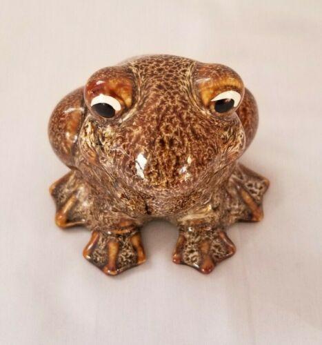 Vintage Speckle Brown Indoor Outdoor Frog Hermitage Pottery  Products  1997