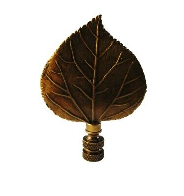 Lamp Finial-LARGE CAST LEAF-Aged Brass Finish, Highly detailed metal casting,FS ()