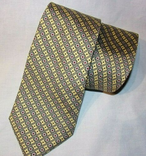 Hermes Paris Made in France gold/gray abstract design Silk Tie Very Nice