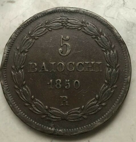 1850 R Italy Papal States 5 Baiocchi - Thick Copper