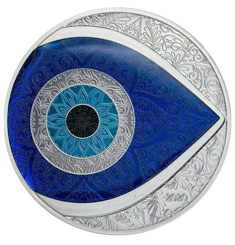 2020 1 Oz PROOF Silver $5 Palau EVIL EYE Coin.