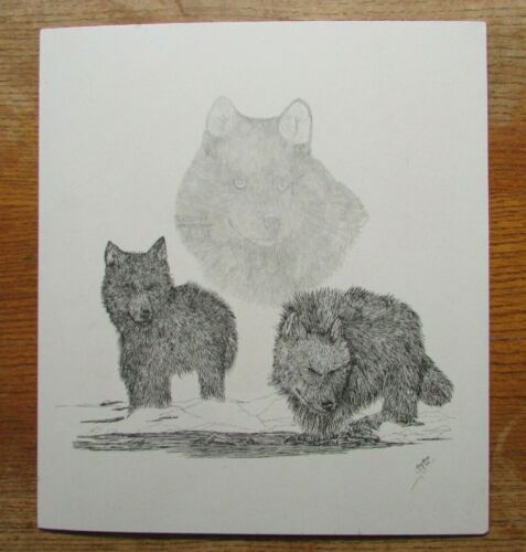 2001 Jonathan G  Signed art print Wolf & Cubs