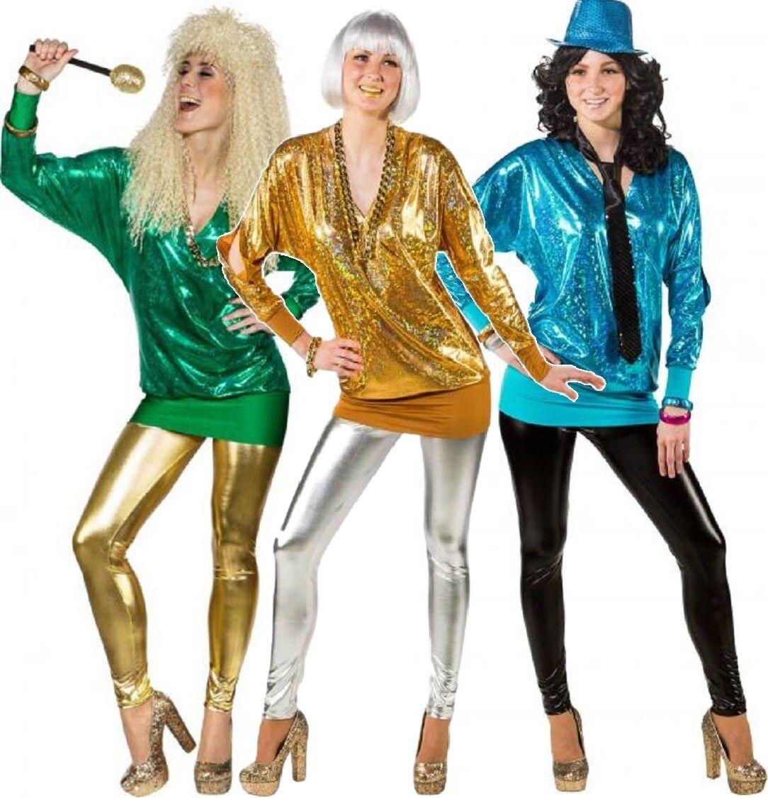 Ladies Metallic Leggings 80s 1980s Eighties Disco Fancy Dress Costume UK 8-18