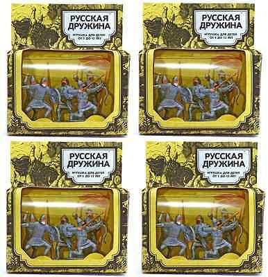4 (four) Soviet Era Alexander Nevsky Commemorative Sets - 60mm painted plastic