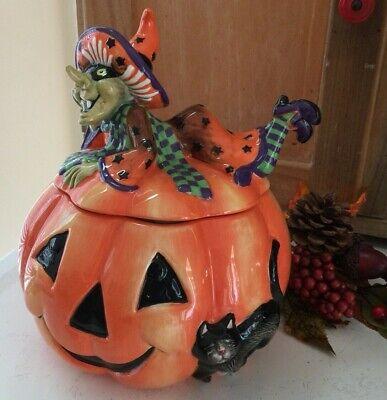 Fitz and Floyd Witch Hazel Halloween Cookie Jar Pumpkin Black Cat Jack O Lantern