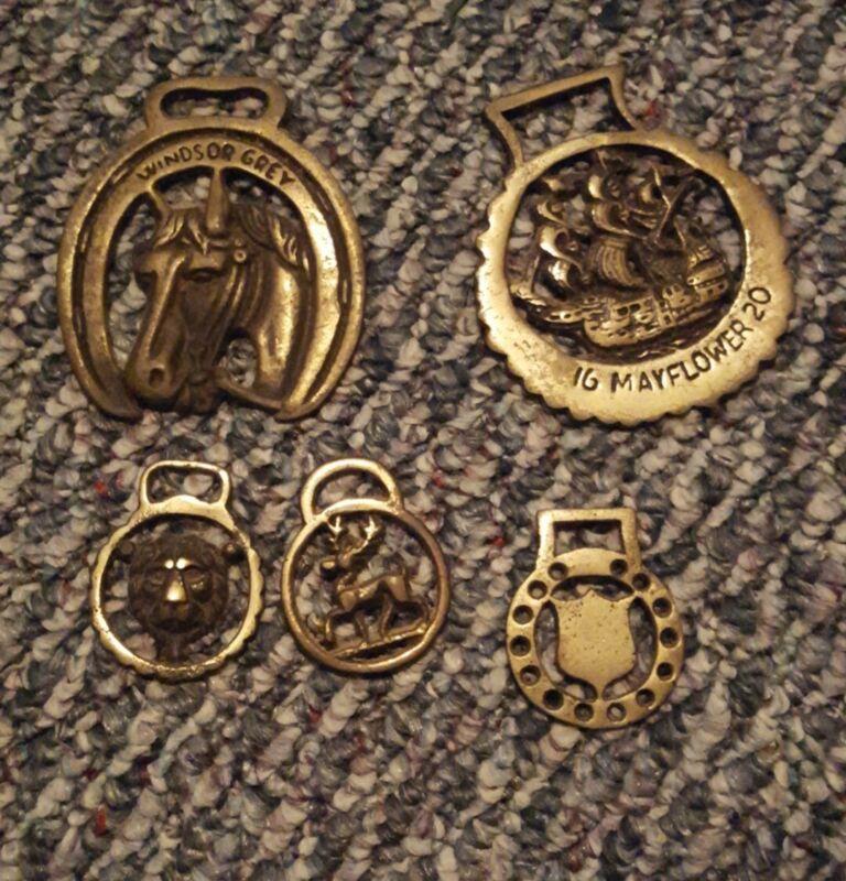 Vintage Five Royal Brass Horse Bridle Medallions
