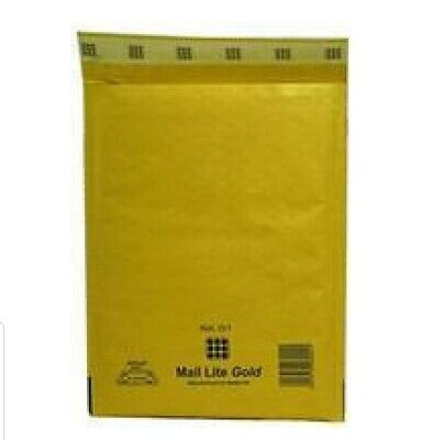 Mail Lite Bubble-Lined Postal Bag Peel and Seal Gold 180 x 260 mm Pk 100 (D1)