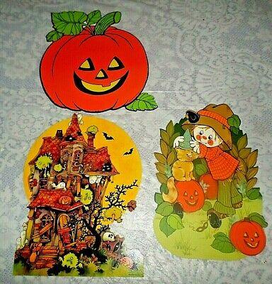 Vintage Halloween Die Cut Deco HALLMARK~Haunted House~Pumpkin~Scarecrow