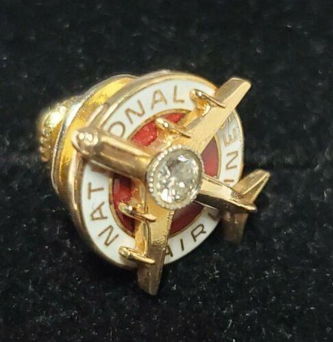 Vintage NATIONAL AIRLINES 10k Gold Enamel, Diamond Accent Lapel PIN...