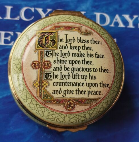 Halcyon Days Enamels Box Large The Lord Bless Thee And Keep Thee