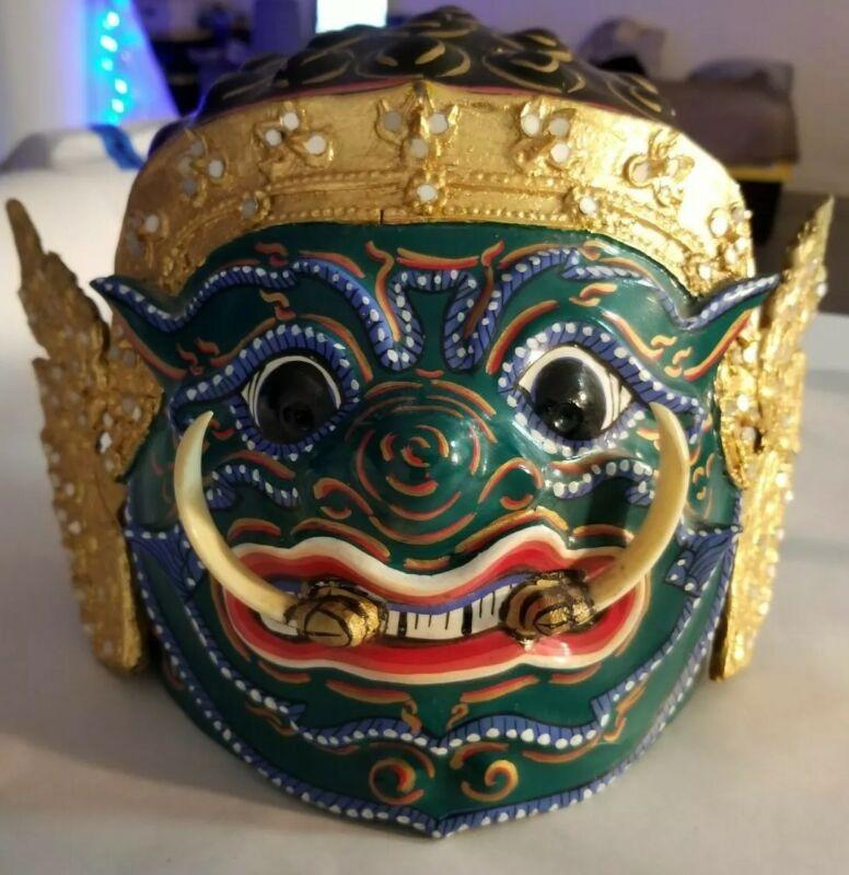 Vintage 1992 Handmade Thailand Demon Khon Dance Full Face Mask Green Tusks Art